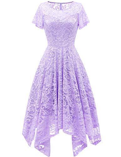 (bridesmay Damen Elegant Spitzenkleid Rundhals Unregelmässig Zipfel Kleid Abendkleid Cocktailkleider Lavender M)