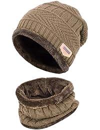 HIDARLING Bambini Cappello e Sciarpa di Inverno Berretta in Maglia e  Scaldacollo Set con Fodera in 92bb7120b87c