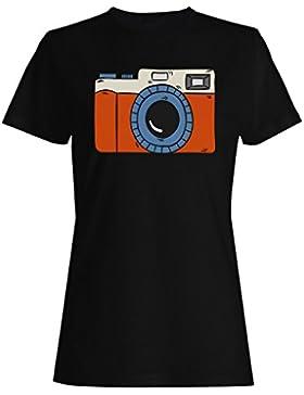 Nueva Mano Dibujado Vintage Cámara camiseta de las mujeres h259f