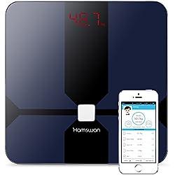 Báscula Grasa Corporal, [Regalos] HAMSWAN Báscula de Baño Inteligente, Analizar Más de 12 Funciones, Medidora Composición Bluetooth Para Móviles Andriod y iOS, Escalalizador Inteligente