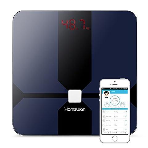 HAMSWAN CF376BLE digital Personenwaage Smart Personenwaage Bluetooth Körperfettwaage mit Multifunktionensanalyse von Gewicht Wasseranteil Muskel Knochen BMI BMR(KCAL) Körperfett und Viszeralfett(Schwarz)