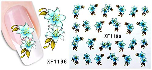 LCFCJK Nagel-Aufkleber Blumenmuster Nagel Dekoration Aufkleber DIY Dekorative Werkzeuge Kunst Design Wasserzeichen Nagel Aufkleber (10 Fotos), A4