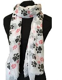White dog paw print long scarf with frayed edge.