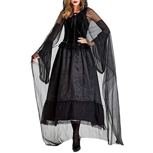 Meiju Damen Umhang Kleid mit Kapuze Lange Cape Vampir Kostüm Halloween Erwachsener Cosplay Umhang Prop für Halloween Masquerade (S,schwarz) (80's Kostüm Für Schwangere)