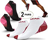 Physix Gear Sport 2 Pairs Running Socks with Plantar Fasciitis Support for Men & Women - Best Compression Socks - No Show Low Cut Ankle Socks Boost Stamina Circulation & Recovery (PNK BLK S/M)