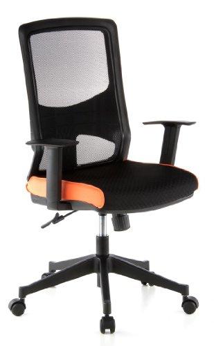 hjh OFFICE 653120 Bürostuhl Drehstuhl LAVITA Netzstoff schwarz/orange, gute feste Polsterung, langlebiger Netzrücken, höhenverstellbare Armlehnen, Schreibtischstuhl ergonomisch, Büro Sessel