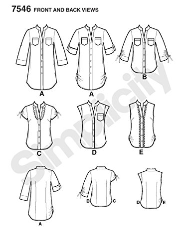 newest da8ad 6eb33 Simplicity 7546 R5 - Cartamodello per camicia da donna ...