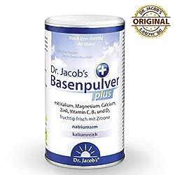Dr Jacob's Basenpulver plus mit echter Zitrone I 300 g Basen-Pulver vegan I Kalium Calcium Magnesium Zink I Vitamin C D B1 I für Basenfasten, Muskeln, Knochen und mehr Energie, für Herz und Blutdruck