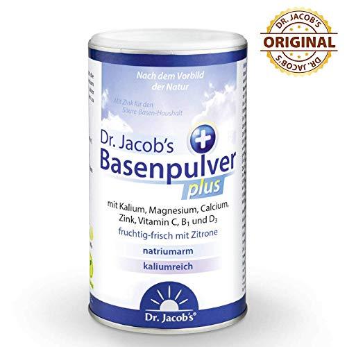 Dr Jacob's Basenpulver plus mit echter Zitrone I 300 g Basen-Pulver vegan I Kalium Calcium Magnesium Zink I Vitamin C D B1 I für Basenfasten, Muskeln, Knochen und mehr Energie, für Herz und Blutdruck -