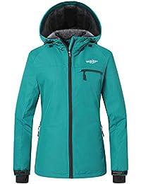 Wantdo Femme Anorak Blouson de Ski à Capuche avec Polaire Veste de Pluie  Imperméable Montagne 3aea6248d63d