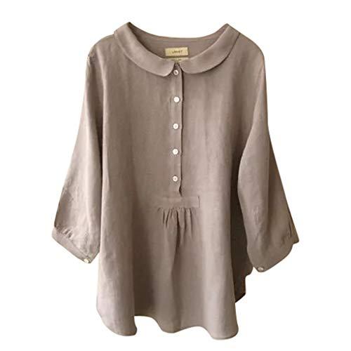 Moda para Mujer Bajar el Cuello Color sólido Camiseta de Tres Cuartos Top Blusa