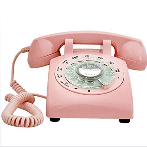 Klassische Altmodische Drehtelefon Wählscheibe Retro Telefon Antik Büro Festnetz Festnetz Glocke,Pink