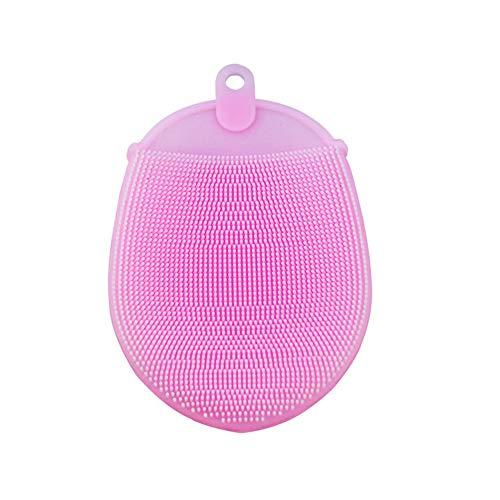 Soft-Silikon-Bürste Körper Gesicht Haare waschen Bad Peeling Haut Massage Scrubber Trockene Haut Bürsten Glove 1pc Rosa - Körper-peeling-bürste