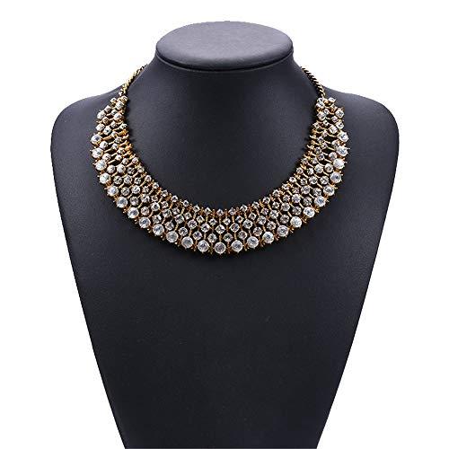 Kanqingqing Damenkleid Vintage Gold/Silber Kette Multicolor Glassimulation Strass Kragen Halskette Bib Halskette Damen-Quaste-Kette (Farbe : ()