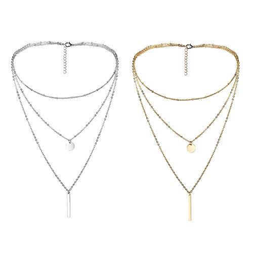 Milacolato Kette Damen, Halskette Anhänger Damen Elegant Charm Anhänger Halskette Pendant Halskette Kette Amulett Zum öffnen mit Kette Halskette für Frauen Mädchen Reihige Kette Runde Anhänger