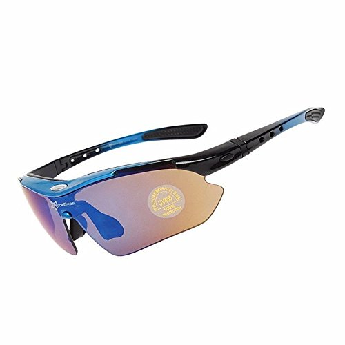 ROCKBROS Polarisierte Brillen Fahrradbrillen Sportbrillen (Schwarz/Blau)