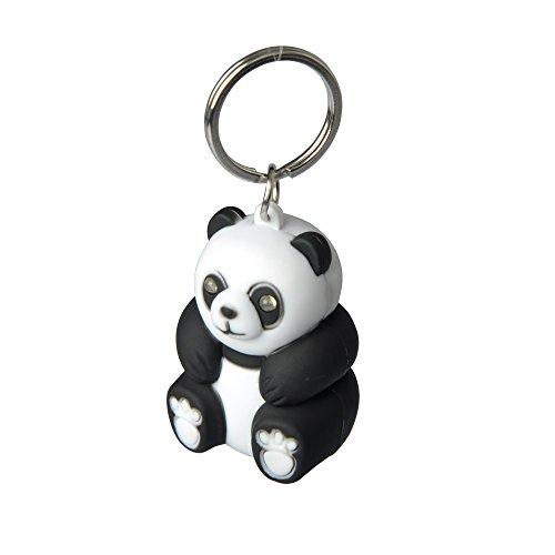 munkees Schlüsselanhänger mit Led Licht, Tier-Motiv Panda Fun Gadget