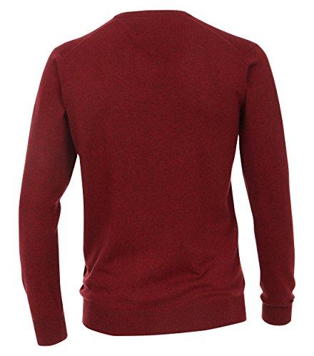Pullover mit V-Ausschnitt unifarben Weinrot