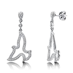 Idea Regalo - Berricle rodio placcato in argento Sterling e zirconia cubica, con pendente a forma di colomba Fashion orecchini