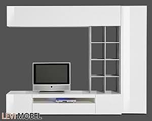 wohnwand 4 tlg anbauwand wohnzimmer wei hochglanz beton optik neu 490326. Black Bedroom Furniture Sets. Home Design Ideas