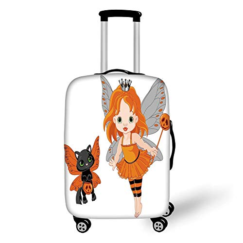 Travel Luggage Cover Suitcase Protector,Halloween,Halloween Baby Fairy and Her Cat in Costumes Butterflies Girls Kids Room Decor Decorative,Multicolor,for Travels 19x27.5Inch