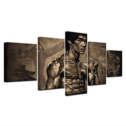 HY.Bohu Wanddekorkunst 5 Panel HD Gedruckt China Kung fu StartWandPosterDruck Auf Leinwand Kunst Malerei Für zuhause Wohnzimmer Dekoration -
