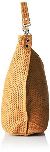 Chicca Borse 80051, Borsa a Tracolla Donna, 44x45x15 cm (W x H x L) Arancione (Cuoio)