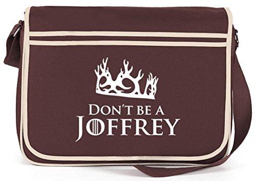 Shirtstreet24, Don't Be A Joffrey, Retro Messenger Bag Kuriertasche Umhängetasche Braun