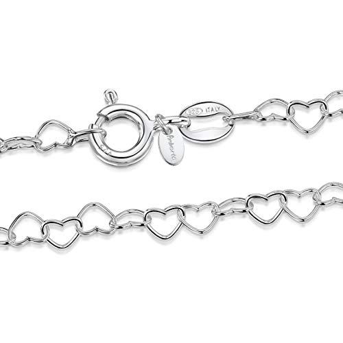 Amberta 925 Sterlingsilber Damen-Halskette - Herzkette - 3 mm Breite - Verschiedene Längen: 40 45 50 55 60 cm (50cm)