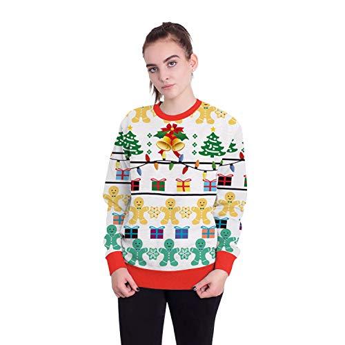 Damen Herren Sweatshirt Hoodies 2018 Europäische Und Amerikanische Erwachsene Weihnachtsmann Rundhals Langarm-Print Pullover, M, Weihnachten Schneeflocke