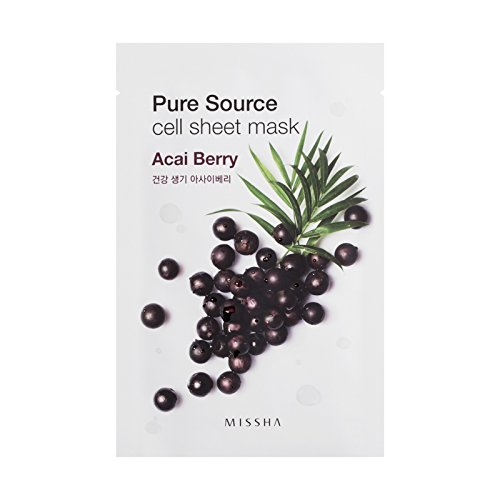 Acai-beere Pflanze (MISSHA Pure Source Cell Sheet Mask Acai Beeren Acai Berry Gesichtsmaske gesichtsmaske Korean Kosmetik 10 pcs)