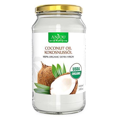 Anjou olio di cocco, coconut oil puro, extra vergine da sri lanka, non rifinito e pressato a freddo per capelli, pelle, alimenti, salute, bellezza, certificato usda -1000ml