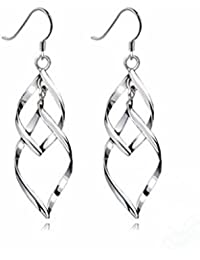 TININNA 1 par Elegante Pendientes de gota colgante para Mujer,Diseño de Doble marquesa Loops de Plata de ley 925 Brillantes.