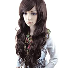 MelodySusie® Dark Brown Curly Wigs – Natural, Fluffy and Fashionable Long Wigs for Women, High Quality Wig with Free Wig Cap and Wig Comb