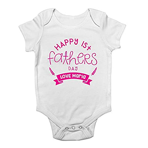 Personalised with ANY NAME Happy 1st Fathers Day Cute Boys and Girls Baby Vest Bodysuit