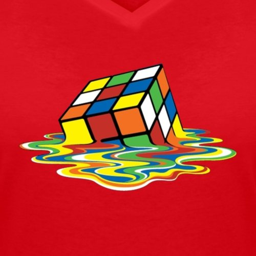 Rubik's Cube En Train De Fondre T-shirt col V Femme de Spreadshirt®‎ Rouge