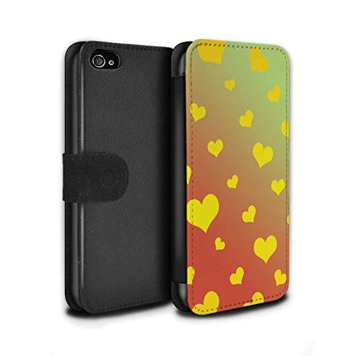 STUFF4 PU-Leder Hülle/Case/Tasche/Cover für Apple iPhone 4/4S / Leuchtende Sterne Muster / Ombre Muster Kollektion Liebe Herz/Gelb