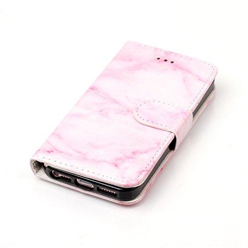 Für iPhone 5 5S SE 4Zoll PU Leder Bookstyle Hülle, Herzzer Mode 3D Muster Blumen Slim Fit Soft Silikon Innere Handyschale Hülle Flip Case Anti Scratch Shell Tasche Flip Wallet Case mit Strap Portable  Rosa Marmor