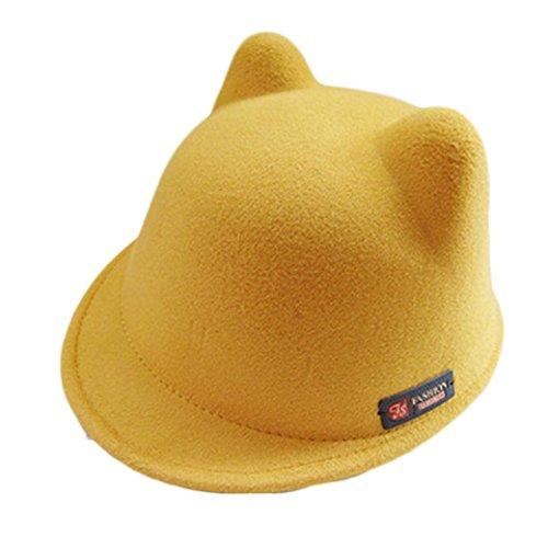Oyedens Bambini Cappello in lana caldo Devil Lovely orecchie di gatto cappello a bombetta bianco Yellow