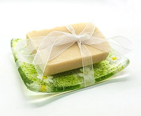 Pâquerettes Vert plat en verre fusionné & Coffret cadeau-Savon naturel fait à la main à l'est du Sussex