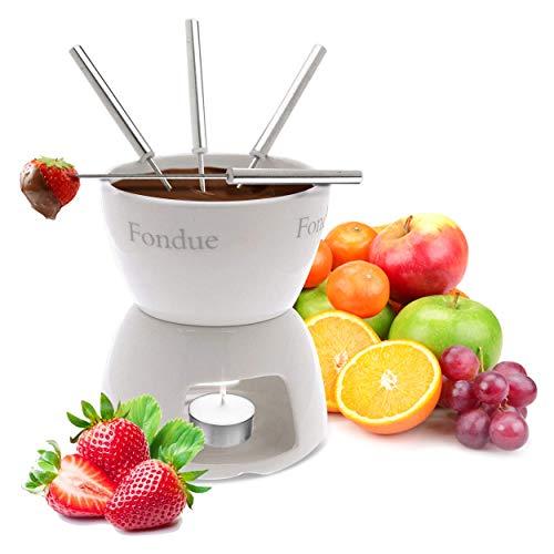 Oramics Schokofondue Set aus Keramik mit 4 Fondue Gabeln- einfach mit Teelicht erwärmen und genießen - Schoko Foundue Teelichtfondue Schokofondant