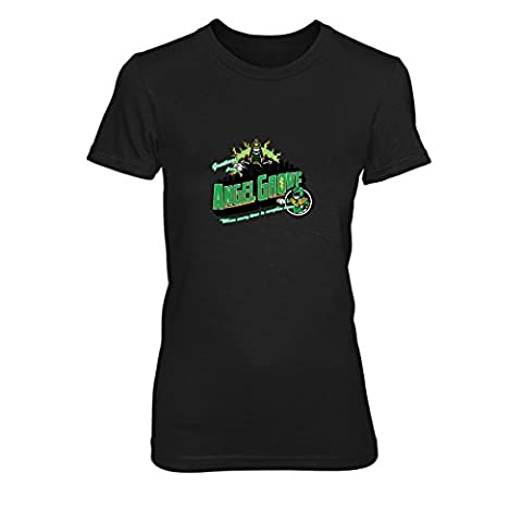 Greetings from Angel Grove Green - Damen T-Shirt, Größe: XL, Farbe: schwarz (Schwarz Mighty Morphin Power Rangers Kostüm)