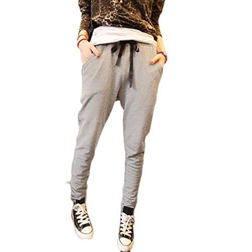Donna Harem Pantaloni Pantaloni Con Tasche Pantaloni Lunghi da Yoga ( Grigio EU L )