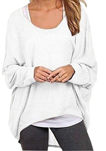 Meyison Damen Lose Asymmetrisch Sweatshirt Pullover Bluse Oberteile Oversized Tops T-shirt Weiss-S (Baumwolle Blusen Weiße)