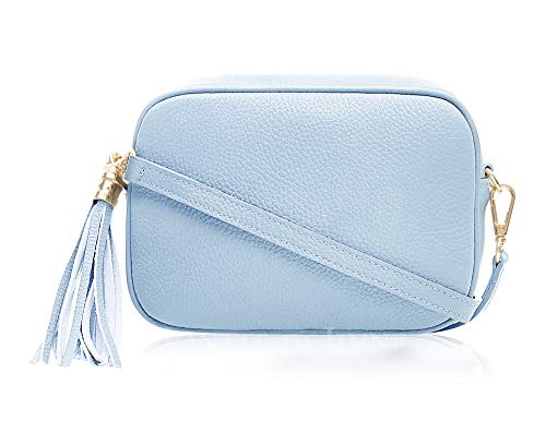 a2cdee7270eb Montte Di Jinne - 100% Made in Italy - Soft Leather Leather Women's Cross  Body Bag with Tassel key Ring (DUCK EGG BLUE)