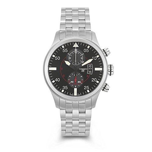TORGOEN Swiss Herren-Armbanduhr Chronograph Quarz Edelstahl T33201