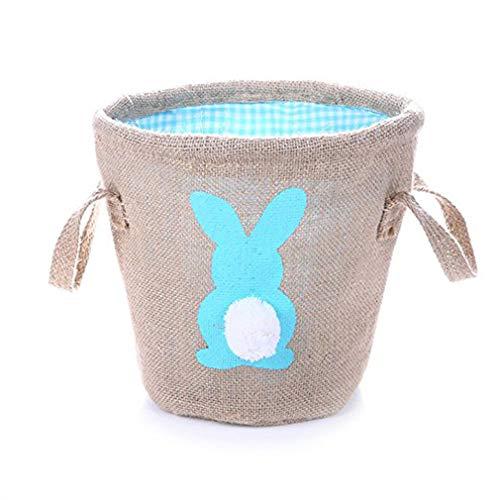 (Jixing Easter Bunny Bag Osterhase Silhouette Basket Bunny Tote Bag für Partyartikel, blau)