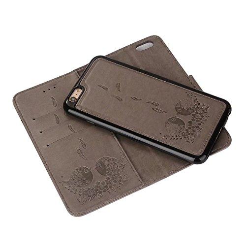 Prägender Vogelmuster PU-Ledertasche mit abnehmbarem Rückenlehne, Horizontale Folio Flip Stand Wllet Tasche mit Lanyard & Card Slots für iPhone 6 & 6s ( Color : Rosegold ) Gray