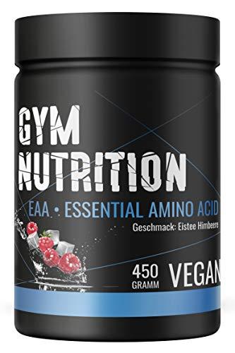 GYM-NUTRITION® - EAA Pulver - Essentielle Amino-Säuren - Essential Amino Acids - EAAs Aminosäuren-Komplex Powder - vegan, hochdosiert, Made in Germany - 450-g, Geschmack: EISTEE HIMBEERE -