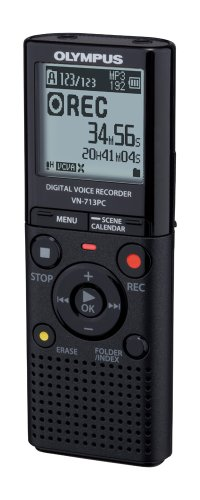 Produktabbildung von Olympus VN-713PC Diktiergerät (4 GB Speicher, Micro SD-Kartenslot, USB-Anschluss, inkl. Batterien, Stereo Kopfhörer, Tasche)